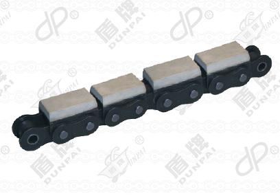 Roller chain with vulcanized elastomer profiles